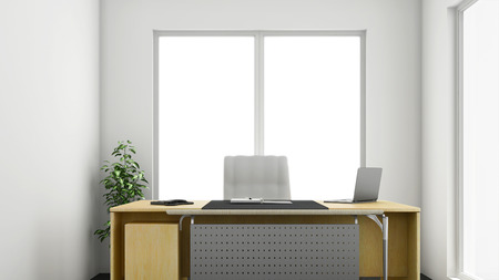 front desk: 3d render of small or medium sized corner office Stock Photo