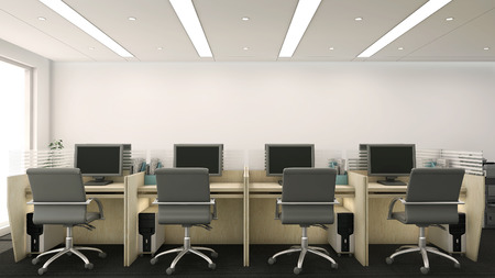 3d render of office cubicles with computers and chairs photo