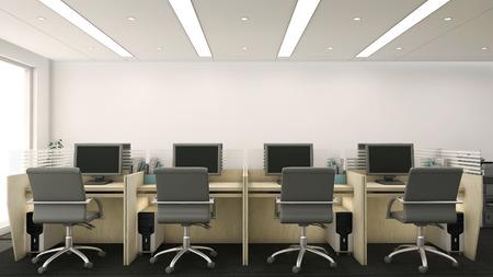 3D render van bureaucellen met computers en stoelen