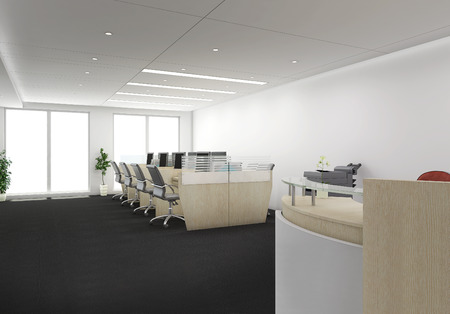 3d render of receptionist desk with office cubicles