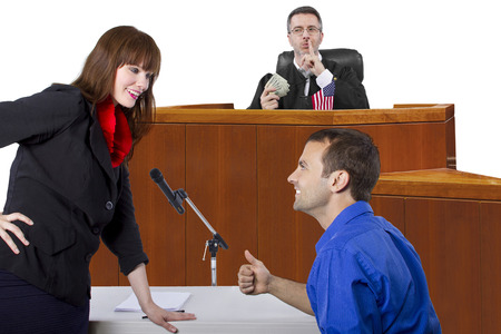 unfair: corrupt judge taking bribe in an unfair courtroom trial