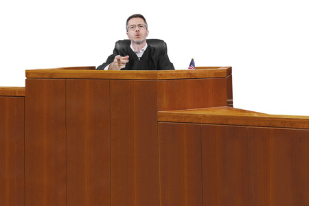 middle aged caucasian american judge in a robe sitting photo