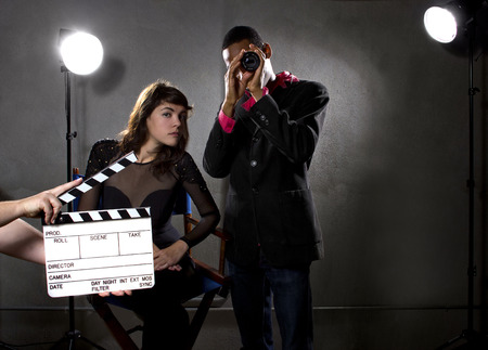 filmmaker: film industry producers or directors in a sound stage