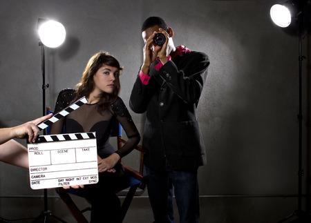 filmindustrie producenten of regisseurs in een geluidsbeeld Stockfoto