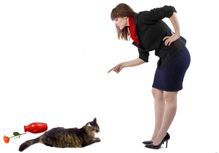 woman scolding pet cat that toppled a flower vase Stock Photo