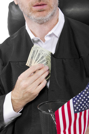 govt: corrupt american judge taking money as a bribe or stealing Stock Photo