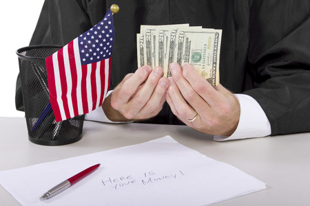 corrupt american judge taking money as a bribe or stealing Stock Photo