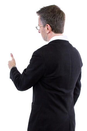 approval rate: businessman with thumbs up gesture rear view