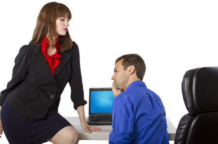 female coworker is flirting to get favors at work photo