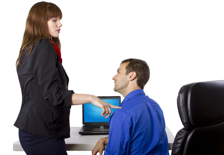 favor: female coworker is flirting to get favors at work