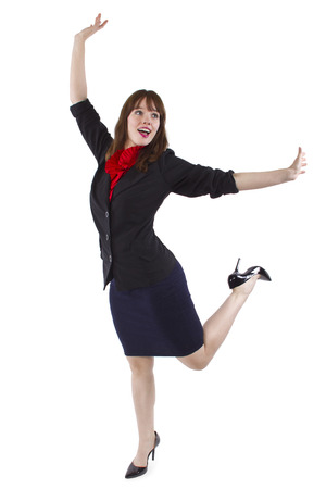young cheerful businesswoman isolated on a white background Stock Photo