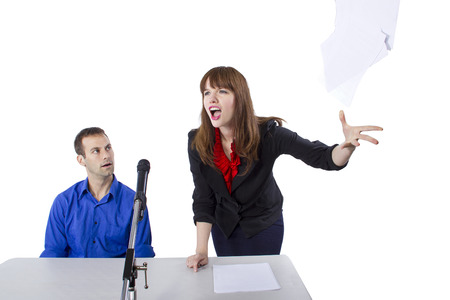 female lawyer representing male client in a court hearing photo