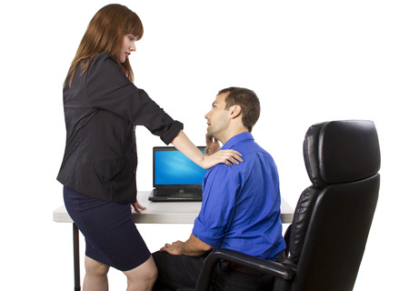 misconduct: female coworker is flirting to get favors at work