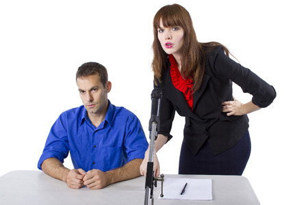 representing: female lawyer representing male client in a court hearing