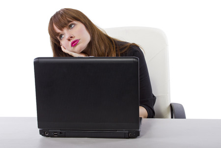 young businesswoman thinking or contemplating while at work Stock Photo - 32012886