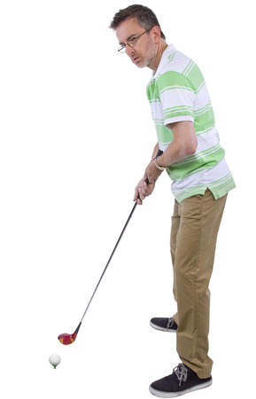 middle-aged man staying healthy and active by playing golf Stock fotó - 31990429