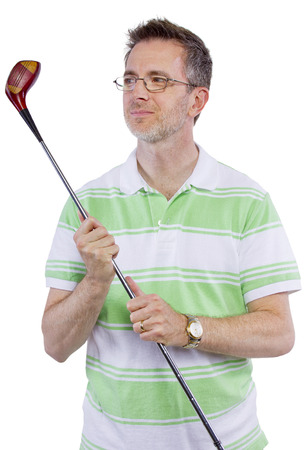middle-aged man staying healthy and active by playing golf Stock fotó - 32127113