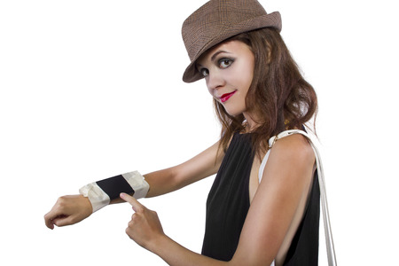 cellphone taped into womans wrist as a DIY smart watch photo