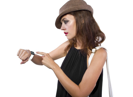 non: young fashionable female wearing a generic non branded smart watch