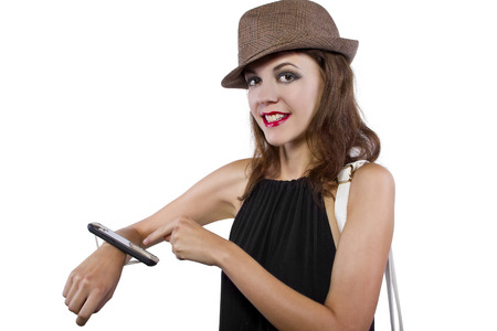 cellphone taped into womans wrist as a DIY smart watch Stock Photo