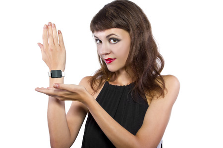 branded: young fashionable female wearing a generic non branded smart watch
