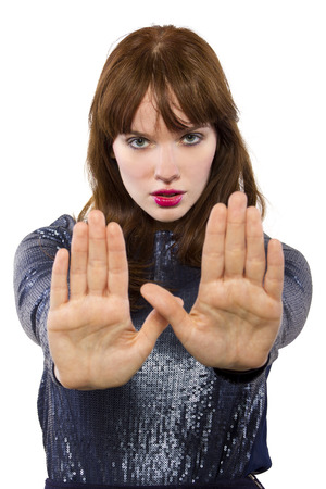 stylish woman refusing or saying no with hand gesture Stock Photo