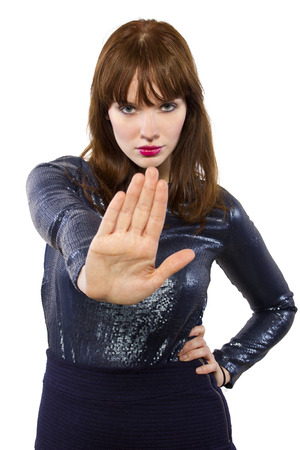 stylish woman refusing or saying no with hand gesture Stok Fotoğraf