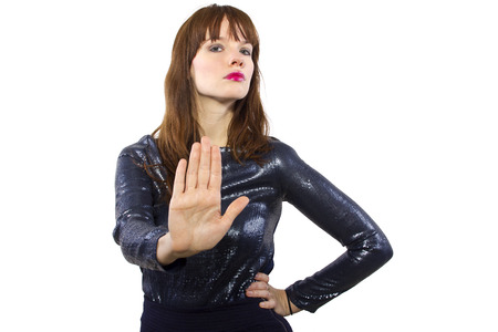 stylish woman refusing or saying no with hand gesture 스톡 콘텐츠