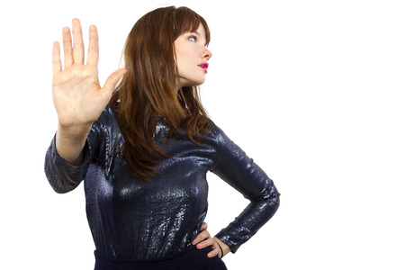 snobby: stylish woman refusing or saying no with hand gesture Stock Photo