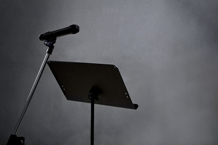 narration: blank recording studio with microphone and text space Stock Photo