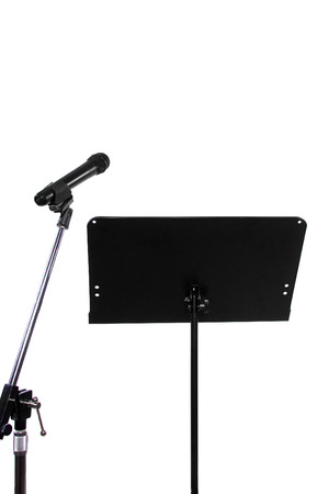 recording studio: blank recording studio with microphone and text space Stock Photo