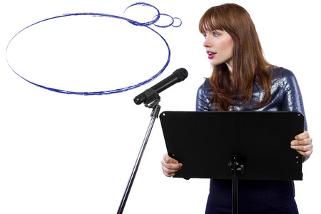 public space: girl in shiny dress speaking on a microphone in a podium on white background