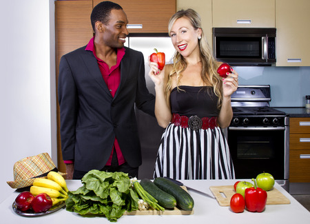 dating male and female learning how to cook with vegetables photo