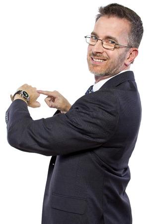 businessman wearing a modern smartwatch wearable tech Stock Photo