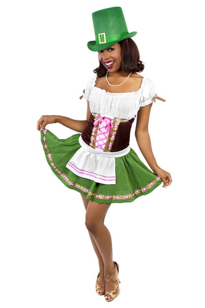 african american waitress dressed in st patricks day costume Stock Photo
