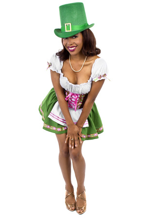african american waitress dressed in st patricks day costume 写真素材