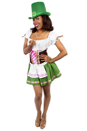 saint pattys: african american waitress dressed in st patricks day costume Stock Photo