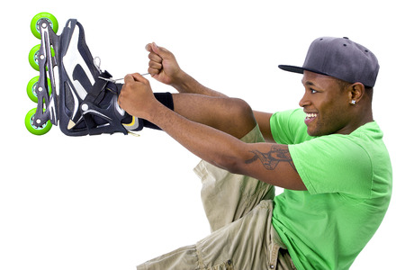 young adult black man posing  Stock Photo
