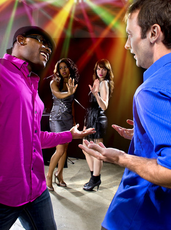 soliciting: two pickup artists harrassing women at a nightclub