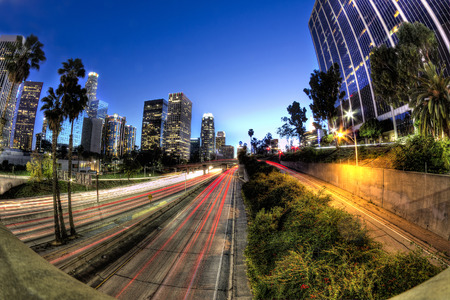 disctrict: HDR scene of down town los angeles freeway and cityscape