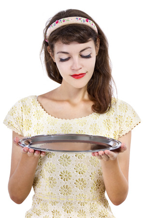 holding close: close up of a woman holding a blank tray for composites Stock Photo