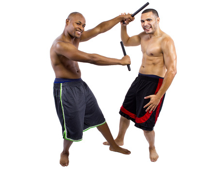 kali: amateur student learning kali escrima martial arts from instructor