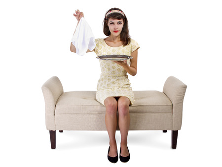 chaise lounge: young female on a chaise lounge covering a surprise in a dessert tray
