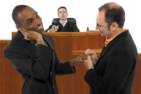 sex discrimination: Judge against legalization of same sex marriage but gay couple looks resilient Stock Photo