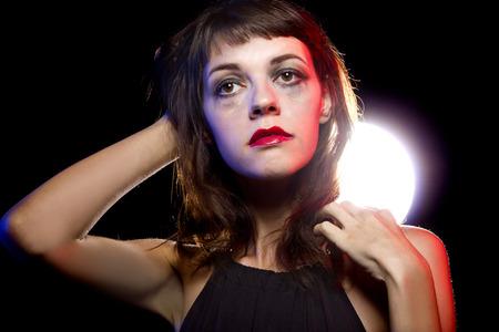 insane insanity: Disheveled drunk or female high on drugs at a nightclub