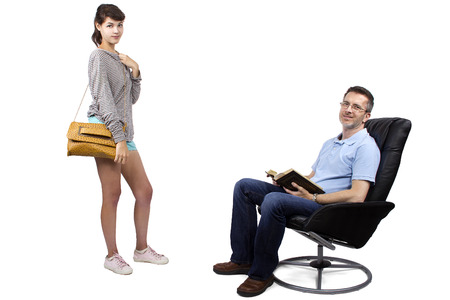 single father: Teenage daughter leaving single father on a white background