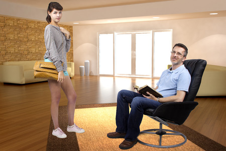 single father: Teenage daughter leaving single father to go out during the day Stock Photo