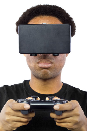 Black male wearing a virtual reality headset and controller on white background
