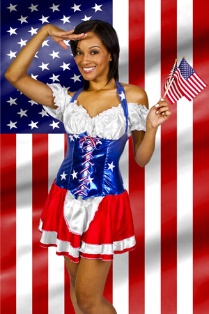 american sexy: women dressed up in a costume with the American flag on 4th of July Stock Photo