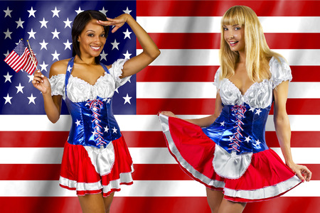 women dressed up in a costume with the American flag on 4th of July photo